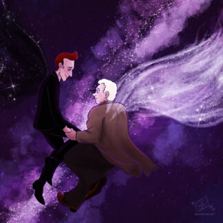 Crowley and Aziraphale against a deep space background, the Milky Way behind them. They are looking at one another and holding hands, and their wings have stars scattered through them.